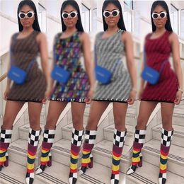 Xxl One Piece Dresses NZ - S-XXL FF Womens One Piece Dress Sleeveless Summer Skirt Designer Above_Knee High Quality Slim Dress Elegant Luxury Night Club Clubwear C431