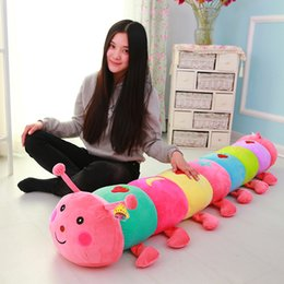 Caterpillar Soft Toys Australia - 50~190cm Colorful catoon caterpillar plush toy doll soft comfy insect pillow cotton worm bug model sofa car cushion kids gift
