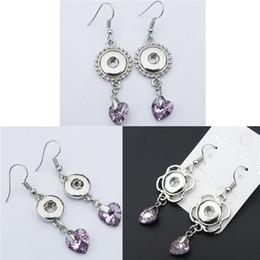 Discount noosa snap earrings - Pink Crystal Heart Earring Metal 12mm Snap Buttons Socket Earrings Noosa Chunks Jewelry 3 Styles Mix