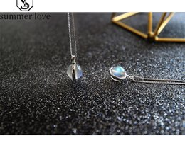 $enCountryForm.capitalKeyWord Australia - Hot Selling Moonstone Pendant Necklace for Women Pure Infinite Gem 925 Sterling Silver Box Chain Necklace Fashion Korean Jewelry