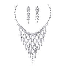 $enCountryForm.capitalKeyWord UK - 2019 Fashion Rhinestone Necklace Jewelry Set for Wedding Cute Tassel Earring and Necklace for Party Trendy Bride Jewelry Set
