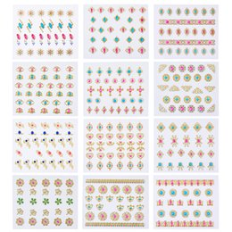 $enCountryForm.capitalKeyWord Australia - wholesale 24 PCs set 63x52mm Self Adhesive 3D Diamond Nail Art Stickers with Gold Foil Lace Decal Mixed Style Color Decals