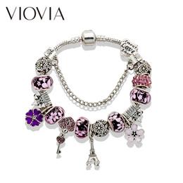 Key Bead Bracelet Australia - VIOVIA Crystal Beads Pan Bracelets & Bangles Silver Key and Lock Charm Bracelets For Women Diy Jewelry Gift B16008