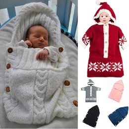 CroChet Children bag online shopping - Baby Windproof Warm Wool Crochet Knitted Newborn Infant Sleeping Bag Baby Swaddling Blanket Sleep Bags Blanket Newborn