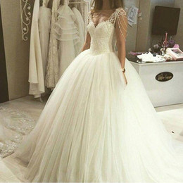 $enCountryForm.capitalKeyWord NZ - Modest Arabic Ball Gown Wedding Dresses 2019 Beaded Lace-up Sweetheart Floor Length Tulle Bridal Gowns Free Shipping