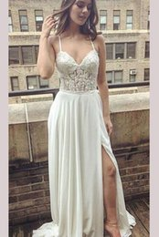 $enCountryForm.capitalKeyWord Australia - Sexy Side Split 2019 Long Wedding Dresses With Straps See Through Waist Applique Lace Beads Sequins Long Wedding Dress Bridal Gowns Cheap