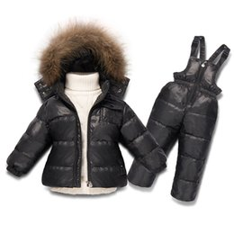 overalls suit girls 2019 - Children boy winter clothing for girl snowsuit skiing down set 1-7 years fur jacket overalls suit girls sets toddler kid