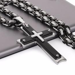 Necklaces Pendants Australia - Men Chains Stainless Steel Chain Necklace Hip Hop Jewelry Cross Pendant Necklace Black Colar Masculino 55 60 65 70cm Long Mn62 Y19050802