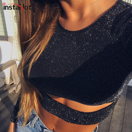 Reflective T Shirts NZ - Instahot Reflective Long Sleeve Crop Tops Women Black O-neck Hollow Out Tees Female Stretchy T Shirts Spring New Arrivals Q190523