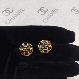 Moon Inlay Australia - Exquisite design Earring with box Custom made round inlay golden letter are very fashion popular best gift for lady's don't miss GD0042