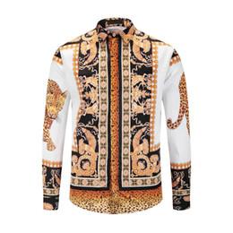 Chinese  2019 Winter Harajuku Medusa Golden Camisa hawaiana Chain Dog Rose Print Shirt Fashion Vintage Floral Sweater Men's Long Sleeve Top Shirt manufacturers