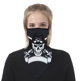 bicycle black ghost UK - RNvkM Halloween Masks Party Black Neck Mask Scary Skull Motorcycle Bicycle Ski Skull Half-Face Ghost Scarf Headwear Mask Cycling D45