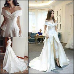 China Trendy 2019 Evening Dresses Jumpsuit Pants Off Shoulder Saudi Arabia Vestidos De Festa Party Dress Sexy Prom Formal Pageant Celebrity Gowns supplier plus size pleated jumpsuit suppliers