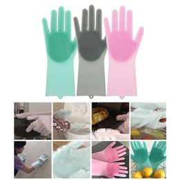 Decoration Screen Australia - 7 Colors Silicone Dish Scrubber Rubber Gloves Brushes Cleaning Tools Home Decor Bathroom Decorations Kitchen Accessories Tools