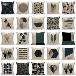 Discount blue throw pillows - Geometric Black Blue Cushion Cove Textile Hill Gold Dero Throw Pillows Covers 45Cmx45Cm Square Sofa Bed 3D Throw Pillow