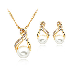 $enCountryForm.capitalKeyWord NZ - Trendy Jewelry Sets Wedding Silver Color Earrings Simulated Pearl Jewelry Set Women Necklace Set Bijoux collier brincos