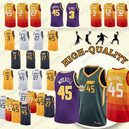 Utah Jerseys 45 Donovan Ricky Mitchell 3 Rubio 32 Karl John Malone 12  Stockton 2 Joe Jerseys Ingles Jersey Earned Edition 558281202