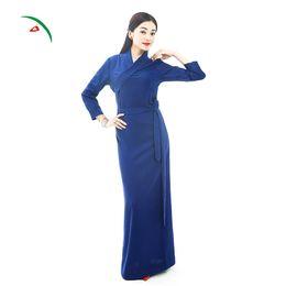 Ethnic Chinese Costume UK - Tibet Daily Wear Dress Linen Cotton Made Tibetan Frog Button Clothing Chinese Ethnic Tibetan Costume