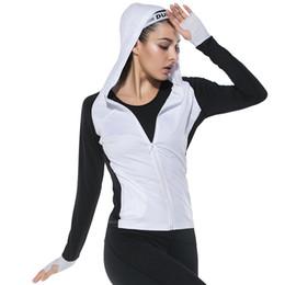 Yoga Pants Jacket UK - BESGO Females Thumb Hole Zipper Pocket Hoodies Sports Jacket Exercises Running Quick Dry Gym Fitness Compression Yoga Coat
