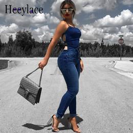 Women Fashion Jumpsuit Australia - Sexy Sleeveless Backless Denim Jumpsuit Women Skinny Denim Pants Fashion Pockets Jeans Women Casual Nightclub Bandage Overalls Y19060501