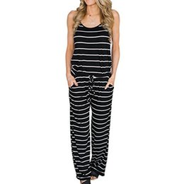 $enCountryForm.capitalKeyWord UK - Long Striped Jumpsuits Summer Women Spaghetti Strap Long Playsuits Sexy Casual Beach Jumpsuit Wide Leg Pants Overalls Plus Size Y19060501