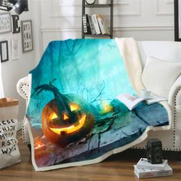 Discount warm cozy blankets - Happy Halloween Pumpkin Bat Blanket Soft Warm Cozy Bed Couch Lightweight Polyester Microfiber Blanket Throw for Kids Wom