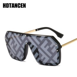 Discount wholesale hip hop women sunglasses - HDTANCEN Hip-hop Sunglasses Exaggerated Large Frame Conjoined Sunglasses Frameless Men Women Letters Lenses Fashion