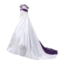 Elegantes vestidos de novia 2018 una línea sin tirantes bordado blanco púrpura vestido de novia por encargo elegante boda vestidos de fiesta