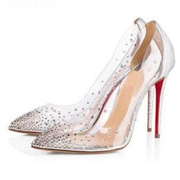 Wholesale colorful dress rhinestones resale online - Red Bottom High Heels Wedding Clear Colorful Crystal Pumps Shoes Woman Stiletto Transparent CM CM Dress Party Brand Thin Heel PVC Shoes