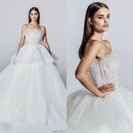 2020 Strapless Wedding Dresses Glitter A Line Ruffles Appliques Bead Country Wedding Dress Custom Made Sweep Train Beach Vestidos De Novia