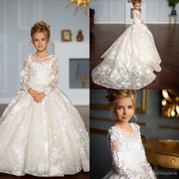 $enCountryForm.capitalKeyWord Australia - 2019 3D Floral Applique Flower Girl Dresses First Communion Dress For Little Girl Long Sleeve A-Line Cheap Kids Wedding Party Dress
