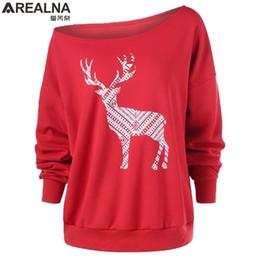 707b0df1552 Harajuku T Shirt Women Tops Loose Deer Printing Merry Christmas One Off  Shoulde Long Sleeve Tee Shirt Femme Plus Size Camisetas J190515