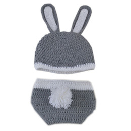 $enCountryForm.capitalKeyWord UK - Adorable Newborn Grey Easter Bunny Outfit,Handmade Knit Crochet Baby Boy Girl Rabbit Bunny Hat and Diaper Cover Set,Infant Photo Prop