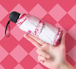 $enCountryForm.capitalKeyWord NZ - New Cherry Blossom Lady Sunscreen Flat 6 Bone Sunshine Umbrella Ultra Light Customized 5 fold Umbrella free shipping