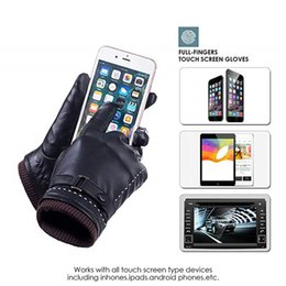 Leather Gloves For Men Australia - Luxury PU Leather Touch Screen Gloves Unisex Winter Warm Gloves Men Women Outdoor Riding Hiking Skiing Glove with Wool Lining Mittens