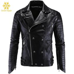 Wholesale mens leather motorcycle style jackets resale online - Winter Fashion Mens Leather Jackets and Coats Full Pelt Skullls Botton Punk Style Zippers Pu Leather Jacket Men Motorcycle Coat