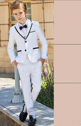 Formal Suits For Children Australia - White Boys Suits For Weddings Three Pieces Two Button Nothched Lapel Children Formal Suits Birthday Party Jacket+Vest+Pant+B