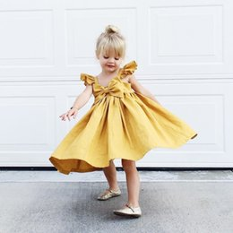 Kids Backless Clothes Australia - Baby Girls Clothes Pure Yellow Bow Kids Dresses For Girls Summer Baby Girl Clothing Casual Backless Toddler Girl Dresses