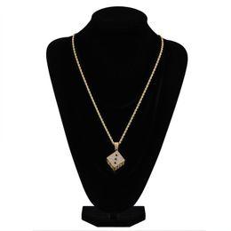 $enCountryForm.capitalKeyWord UK - Creative Double Color Dice Pendant Necklace Men Hip Hop Black and White Zircon Long Necklace Fashion Copper Gold Plated Jewelry Wholesale