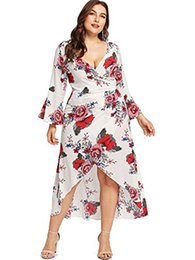 $enCountryForm.capitalKeyWord UK - Milumia Plus Size Floral Wrap Maxi Evening Dress Night Out Empire Waist 3 4 Sleeves Dress Red