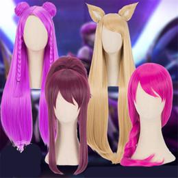 $enCountryForm.capitalKeyWord NZ - new Game LOL KDA Kaisa Ahri Akali Cosplay Wig Girl Heat Resistant Cosplay Purple Wig 80cm Synthetic Hair Halloween Cosplay