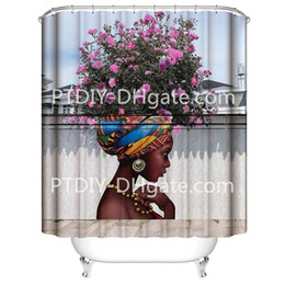 $enCountryForm.capitalKeyWord Australia - Beautiful Flower Girl Art Shower Curtain for Shower Stall by Woman Ethnic Themed Bathroom Decor Anti Mold Water Resistant Healthy Fabric