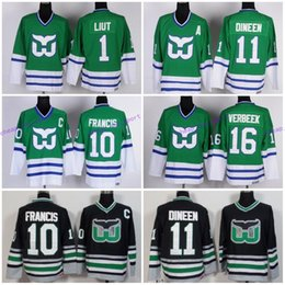 d14b1486 New Hot Hartford Whalers 1 Mike Liut Jerseys 10 Ron Francis 11 Kevin Dineen  16 Patrick Verbeek Team Color Green White Black Retro Stitched