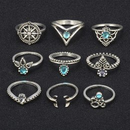 punk rings Australia - Pop High Fashion Key4fashion Boho Vintage Punk Silver Color Stone Ring Sets for Fingers Bohemian 9 sets Rings for Women Jewelry