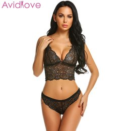 $enCountryForm.capitalKeyWord NZ - Avidlove Women Sexy Hollow Lace Floral Lingerie Sets Erotic Nightwear Nighty Costumes Hot Clothes Set Bra with G String