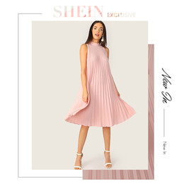 07a782b74f SHEIN Pink Mock Neck Cut-out Tie Back Pleated Tunic Party Midi Summer Dress  Women Sleeveless Shift Straight Solid Cute Dresses