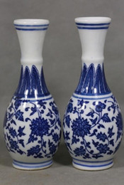 Chinese New Year Paintings Australia - 2PCS Archaize Style Chinese Blue and white Porcelain vase - Painting