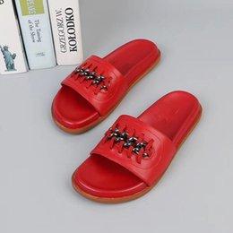 caoutchouc mkDesigner hommes et femmes Sandales Designer Chaussures Top Slide Summer Fashion Wide Sandales glissantes plates Slipper Flip Flop yz19012502 en Solde