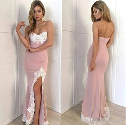 images white evening dresses Canada - Blush Pink Mermaid Bridesmaid Dresses 20209 White Appliques Sexy Split Side Maid of Honor Formal Evening Party Gown