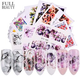 flower stickers wholesale Australia - ater transfer Full Beauty 40pcs Nail Sticker Set Beautiful Flowers Design Water Transfer Decals For Nails Art Manicure Foil Decor CHSTZ35...